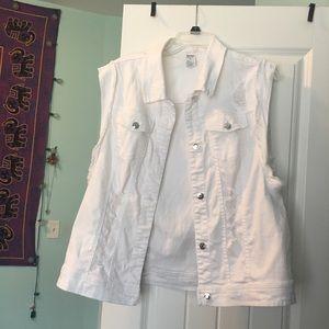 Distressed White Vest